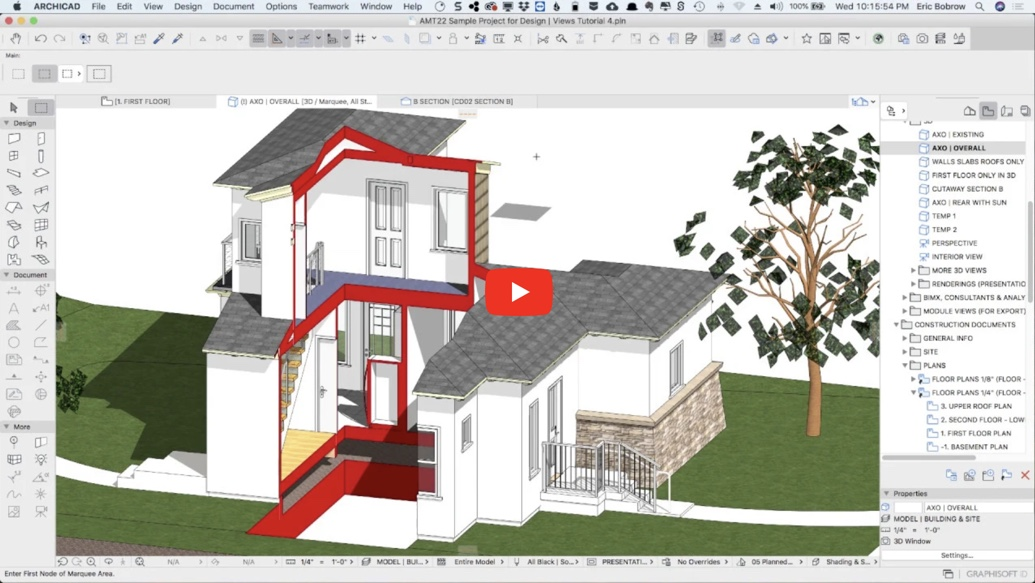 Archicad Design Views 4 3d Cutaways And Selective Views Archicad Tutorials